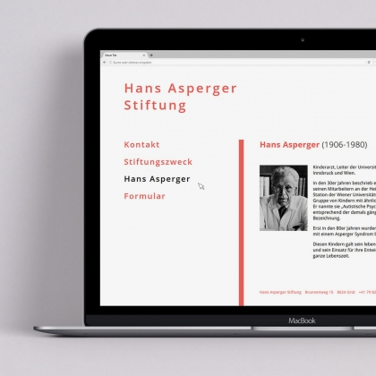 Layout Website Hans Asperger Stiftung - création handicap